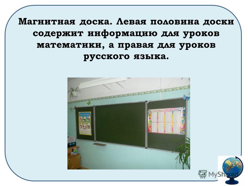 Магнитная доска. Левая половина доски содержит информацию для уроков математики, а правая для уроков русского языка.