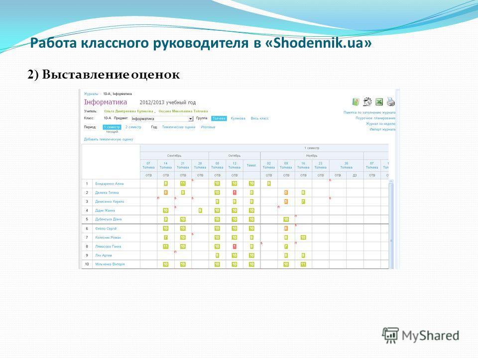 Работа классного руководителя в «Shodennik.ua» 2) Выставление оценок