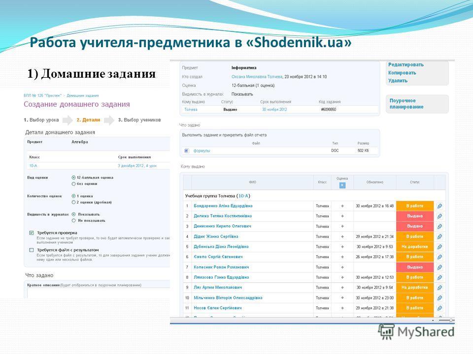 Работа учителя-предметника в «Shodennik.ua» 1) Домашние задания