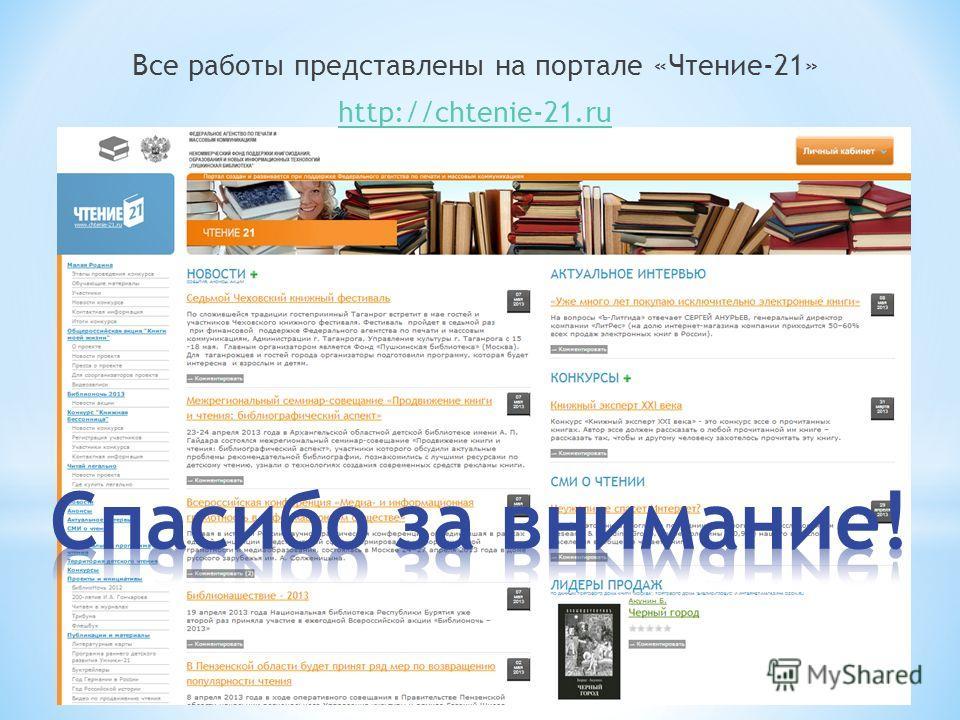 Все работы представлены на портале «Чтение-21» http://chtenie-21.ru