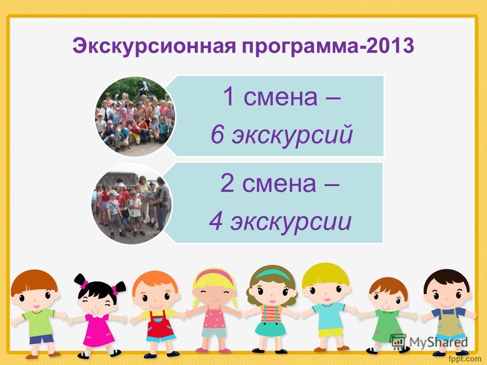 Экскурсионная программа-2013 1 смена – 6 экскурсий 2 смена – 4 экскурсии