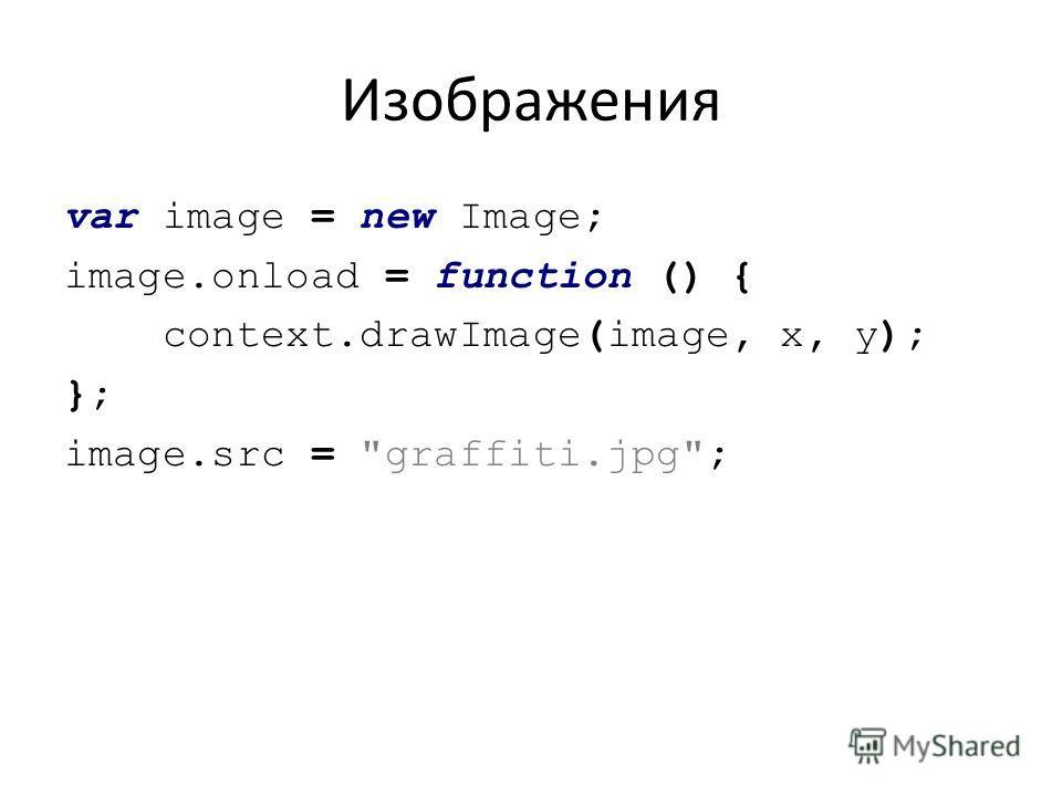 Изображения var image = new Image; image.onload = function () { context.drawImage(image, x, y); }; image.src = graffiti.jpg;