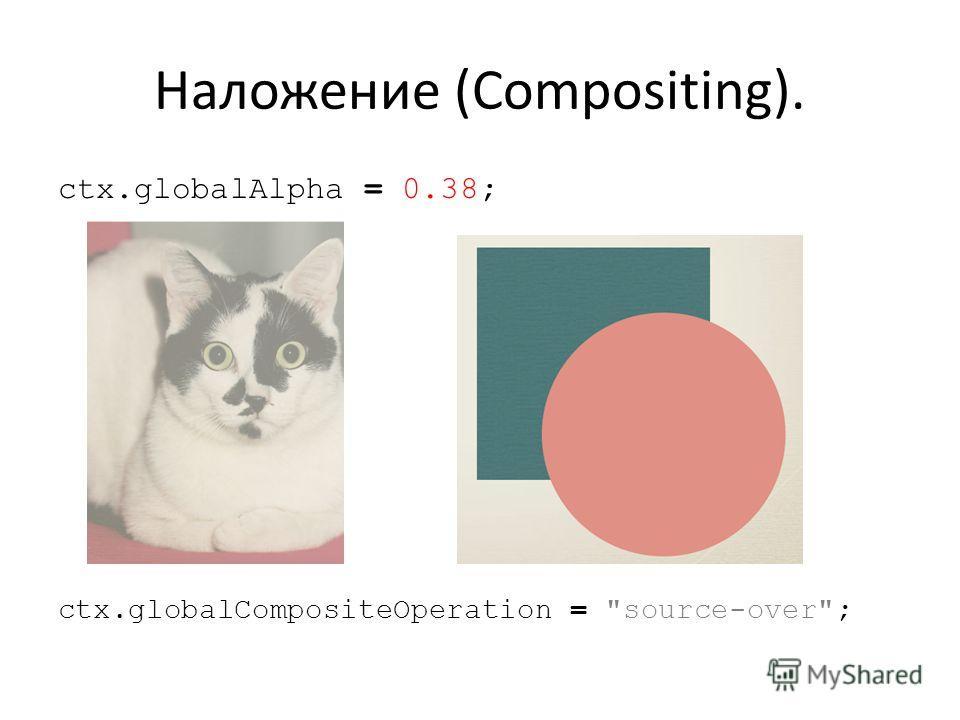Наложение (Compositing). ctx.globalAlpha = 0.38; ctx.globalCompositeOperation = source-over;