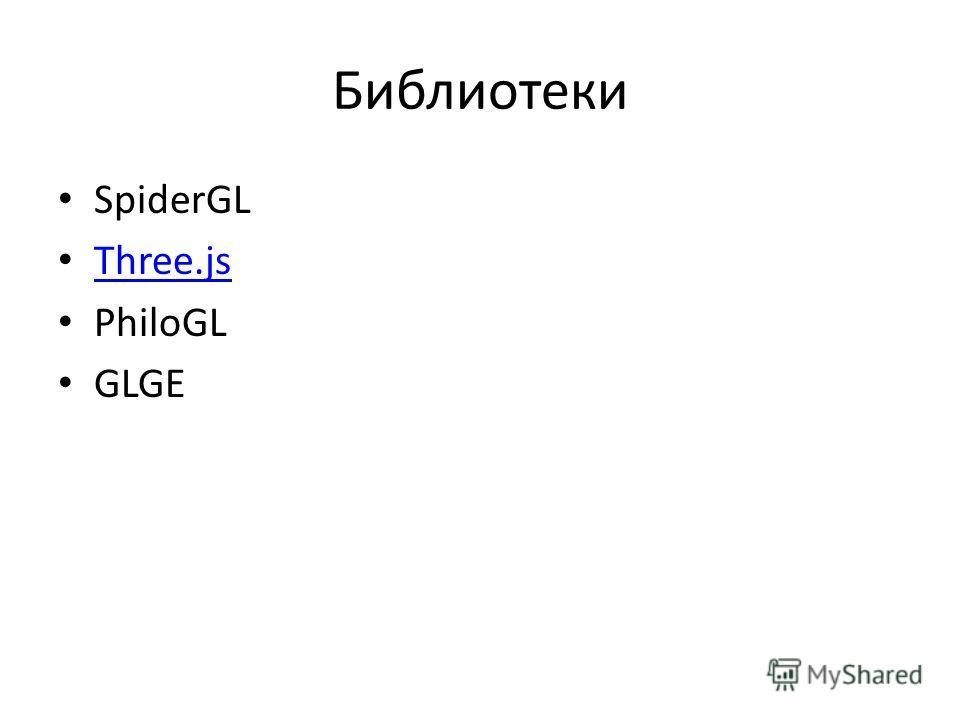 Библиотеки SpiderGL Three.js PhiloGL GLGE
