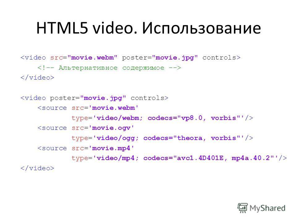 HTML5 video. Использование