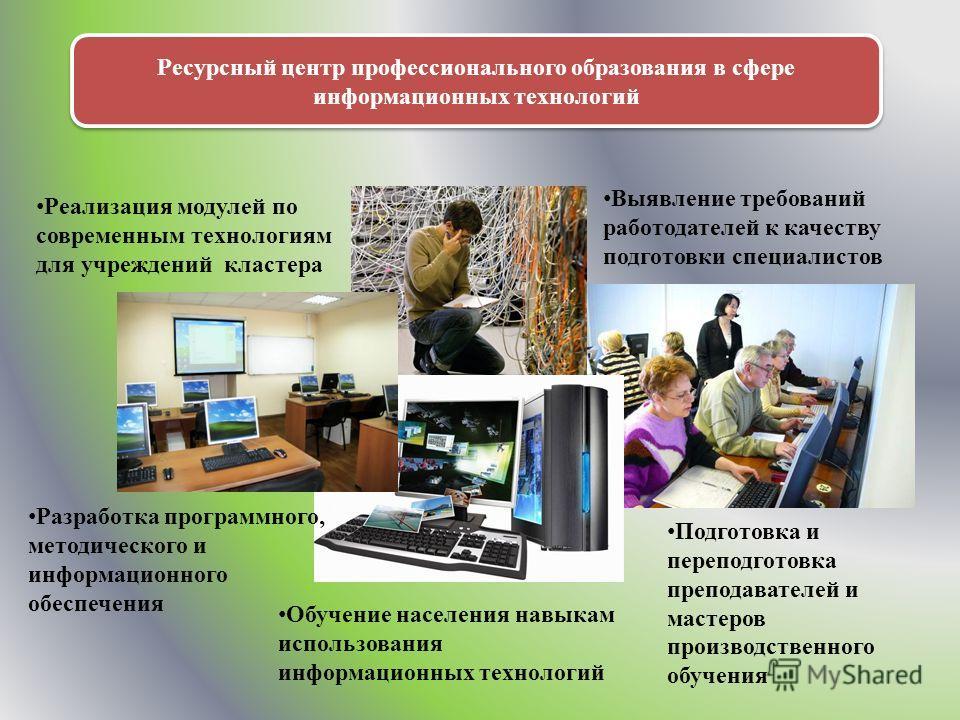Ресурсный центр профессионального образования в сфере информационных технологий Реализация модулей по современным технологиям для учреждений кластера Выявление требований работодателей к качеству подготовки специалистов Разработка программного, метод