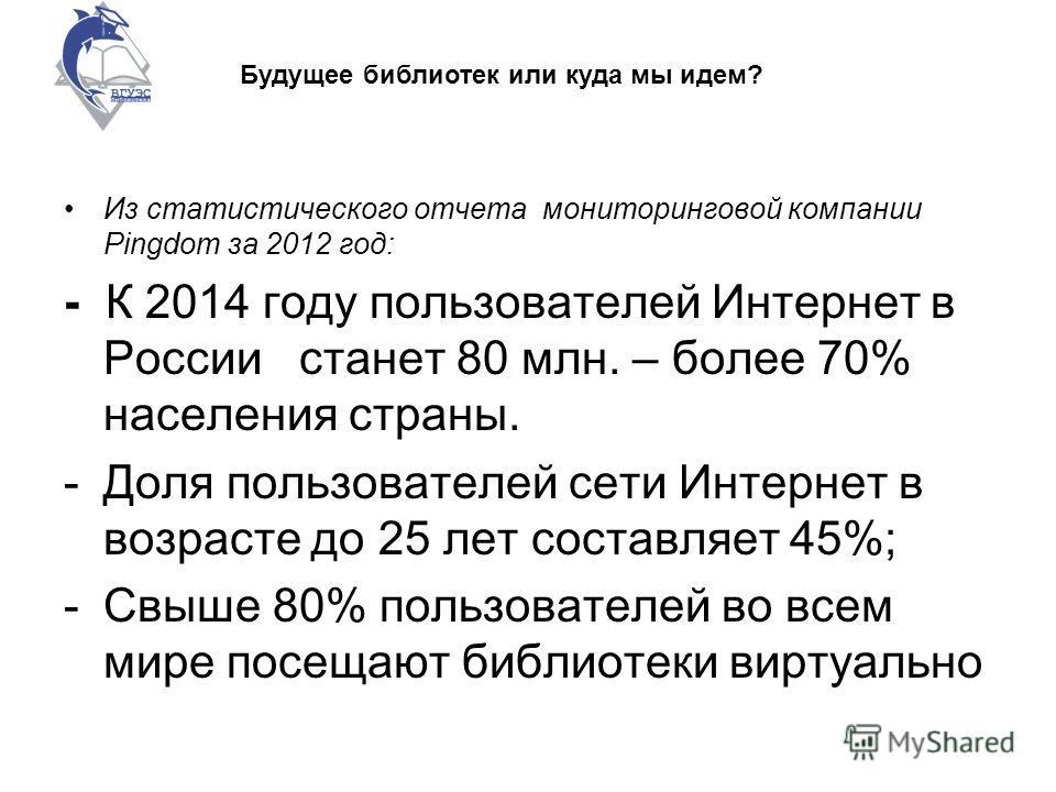 Из статистического отчета мониторинговой компании Pingdom за 2012 год: - К 2014 году пользователей Интернет в России станет 80 млн. – более 70% населения страны. -Доля пользователей сети Интернет в возрасте до 25 лет составляет 45%; -Свыше 80% пользо