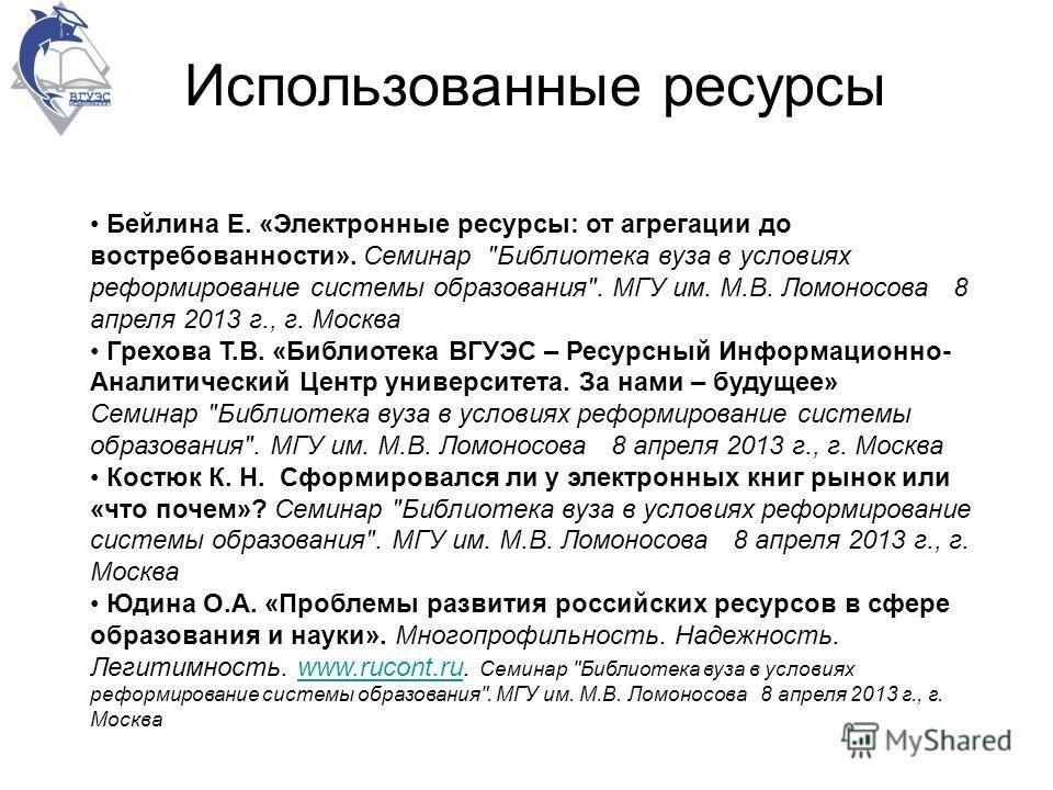 Использованные ресурсы Бейлина Е. «Электронные ресурсы: от агрегации до востребованности». Семинар