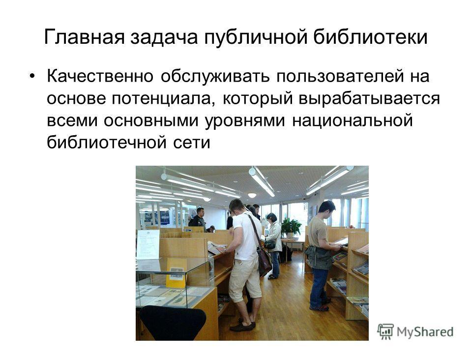Главная задача публичной библиотеки Качественно обслуживать пользователей на основе потенциала, который вырабатывается всеми основными уровнями национальной библиотечной сети