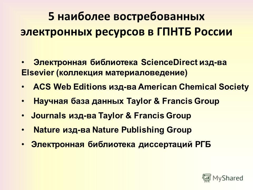 5 наиболее востребованных электронных ресурсов в ГПНТБ России Электронная библиотека ScienceDirect изд-ва Elsevier (коллекция материаловедение) ACS Web Editions изд-ва American Chemical Society Научная база данных Taylor & Francis Group Journals изд-