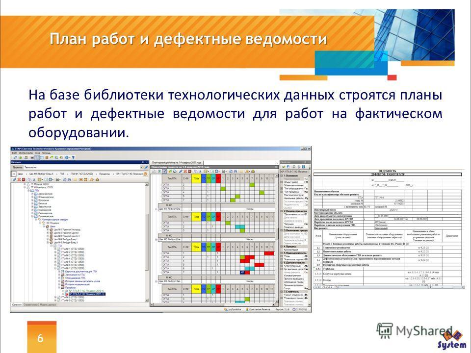 6 План работ и дефектные ведомости На базе библиотеки технологических данных строятся планы работ и дефектные ведомости для работ на фактическом оборудовании.
