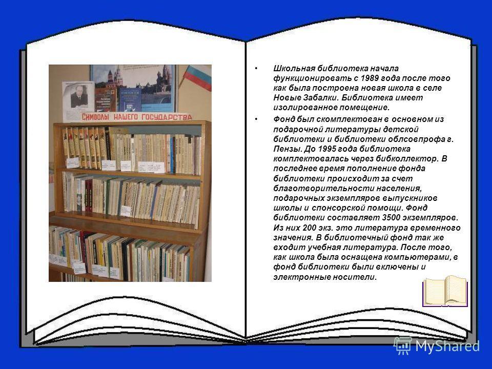 Школьная библиотека начала функционировать с 1989 года после того как была построена новая школа в селе Новые Забалки. Библиотека имеет изолированное помещение. Фонд был скомплектован в основном из подарочной литературы детской библиотеки и библиотек
