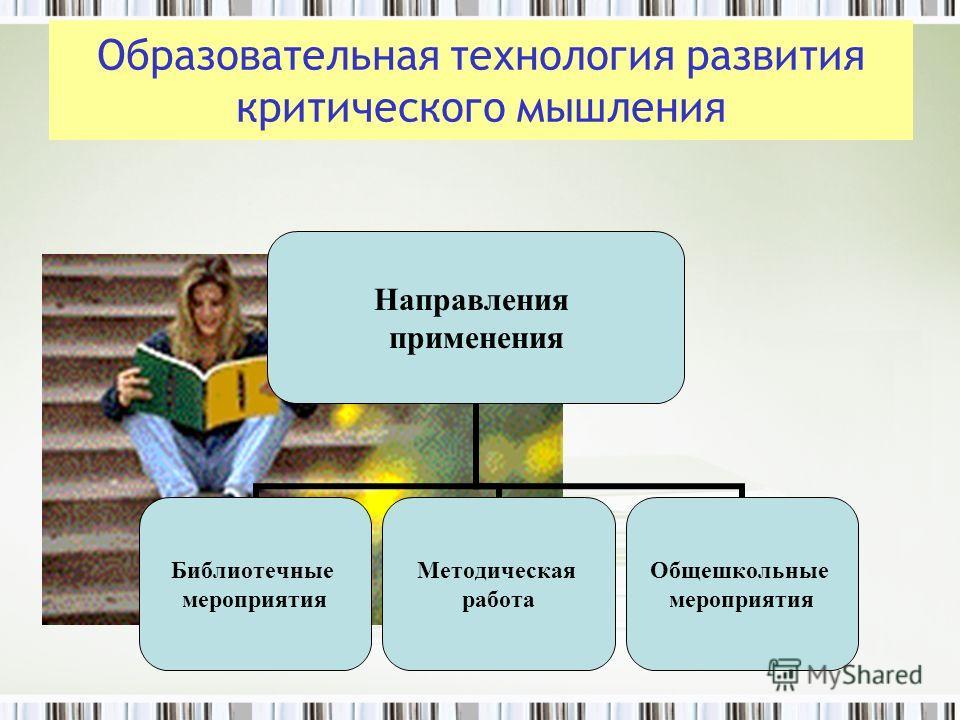 Направления применения Библиотечные мероприятия Методическая работа Общешкольные мероприятия Образовательная технология развития критического мышления