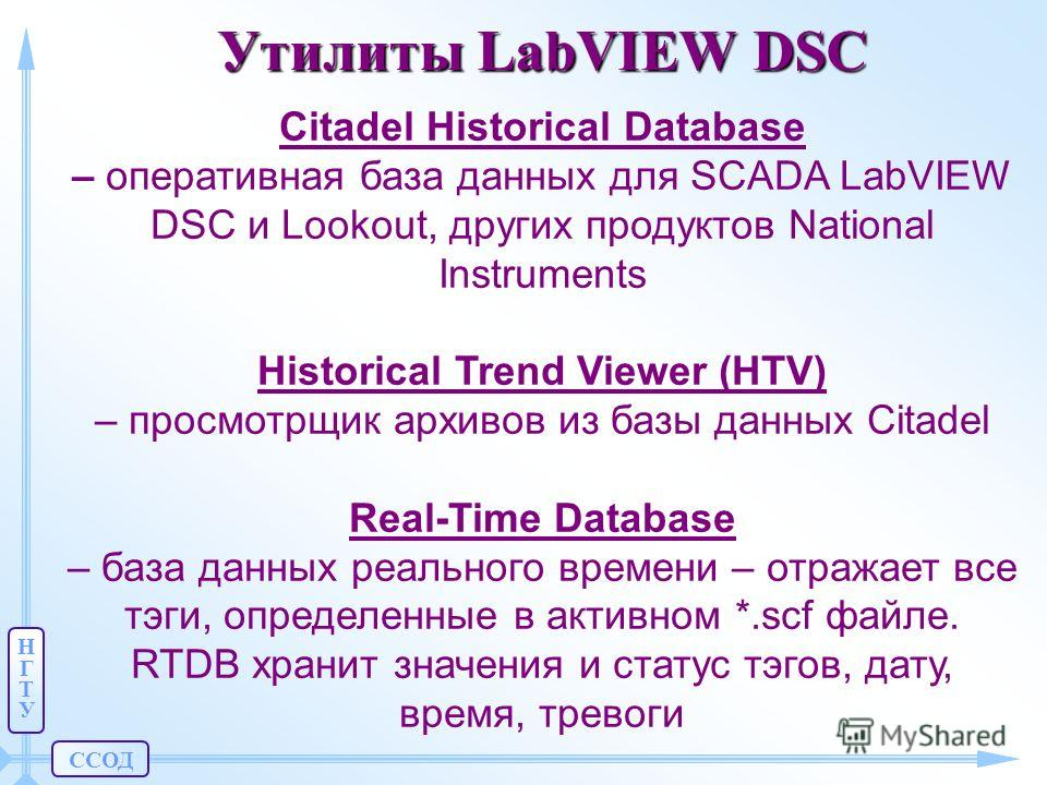 ССОД НГТУНГТУ Утилиты LabVIEW DSC Citadel Historical Database – оперативная база данных для SCADA LabVIEW DSC и Lookout, других продуктов National Instruments Historical Trend Viewer (HTV) – просмотрщик архивов из базы данных Citadel Real-Time Databa