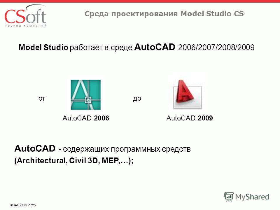 ©ЗАО «СиСофт» Среда проектирования Model Studio CS Model Studio работает в среде AutoCAD 2006/2007/2008/2009 AutoCAD 2006 отдо AutoCAD 2009 AutoCAD - содержащих программных средств (Architectural, Civil 3D, MEP,…);