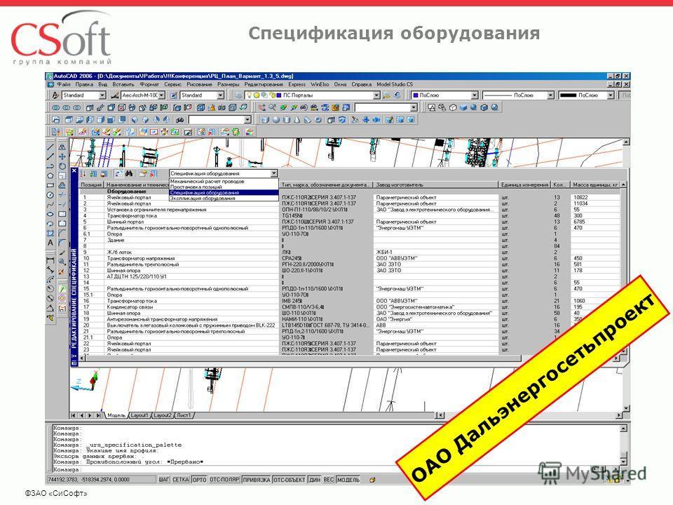 ©ЗАО «СиСофт» Спецификация оборудования ОАО Дальэнергосетьпроект