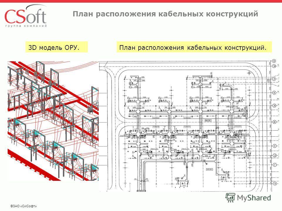 ©ЗАО «СиСофт» План расположения кабельных конструкций 3D модель ОРУ.План расположения кабельных конструкций.