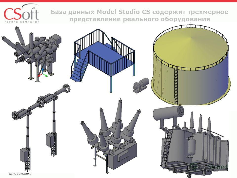 ©ЗАО «СиСофт» База данных Model Studio CS содержит трехмерное представление реального оборудования