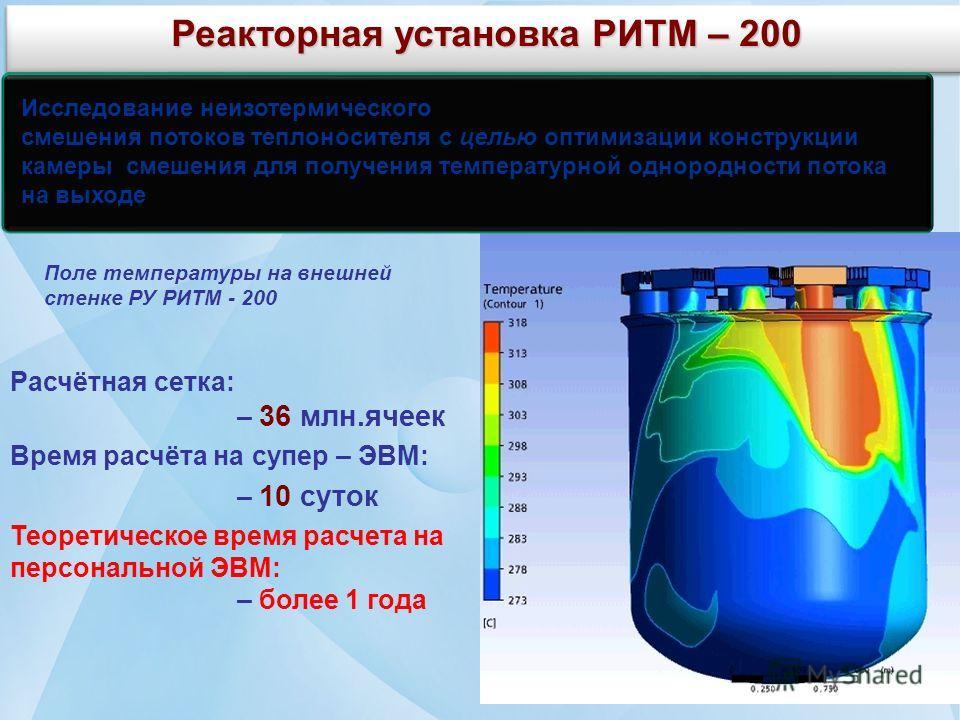 Реакторная установка РИТМ – 200 Расчётная сетка: – 36 млн.ячеек Время расчёта на супер – ЭВМ: – 10 суток Теоретическое время расчета на персональной ЭВМ: – более 1 года Поле температуры на внешней стенке РУ РИТМ - 200 Исследование неизотермического с