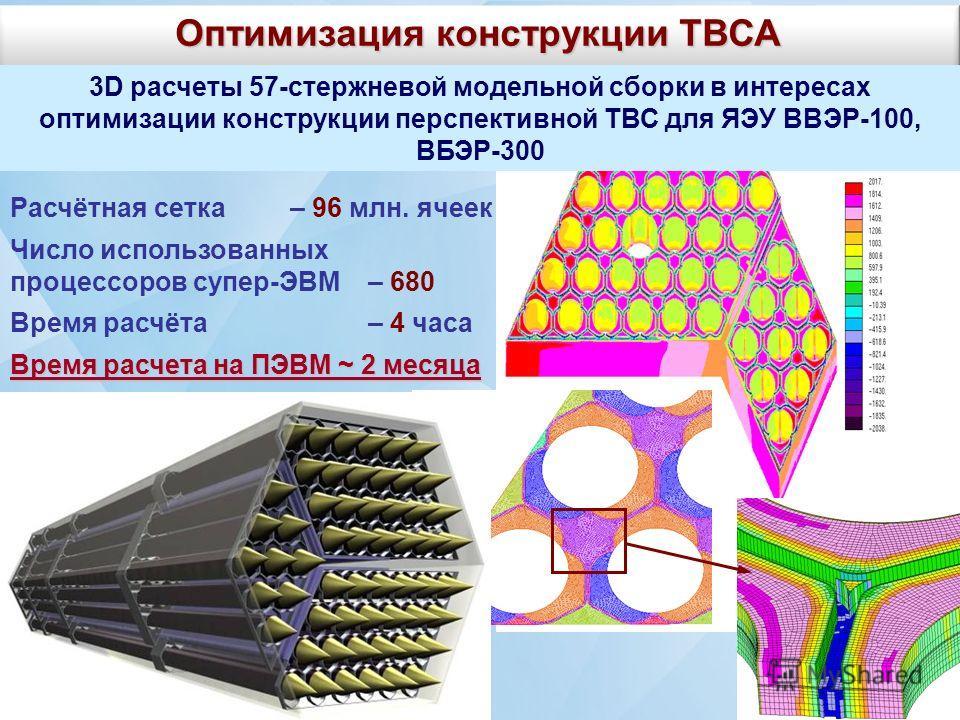Оптимизация конструкции ТВСА 3D расчеты 57-стержневой модельной сборки в интересах оптимизации конструкции перспективной ТВС для ЯЭУ ВВЭР-100, ВБЭР-300 Расчётная сетка – 96 млн. ячеек Число использованных процессоров супер-ЭВМ – 680 Время расчёта – 4