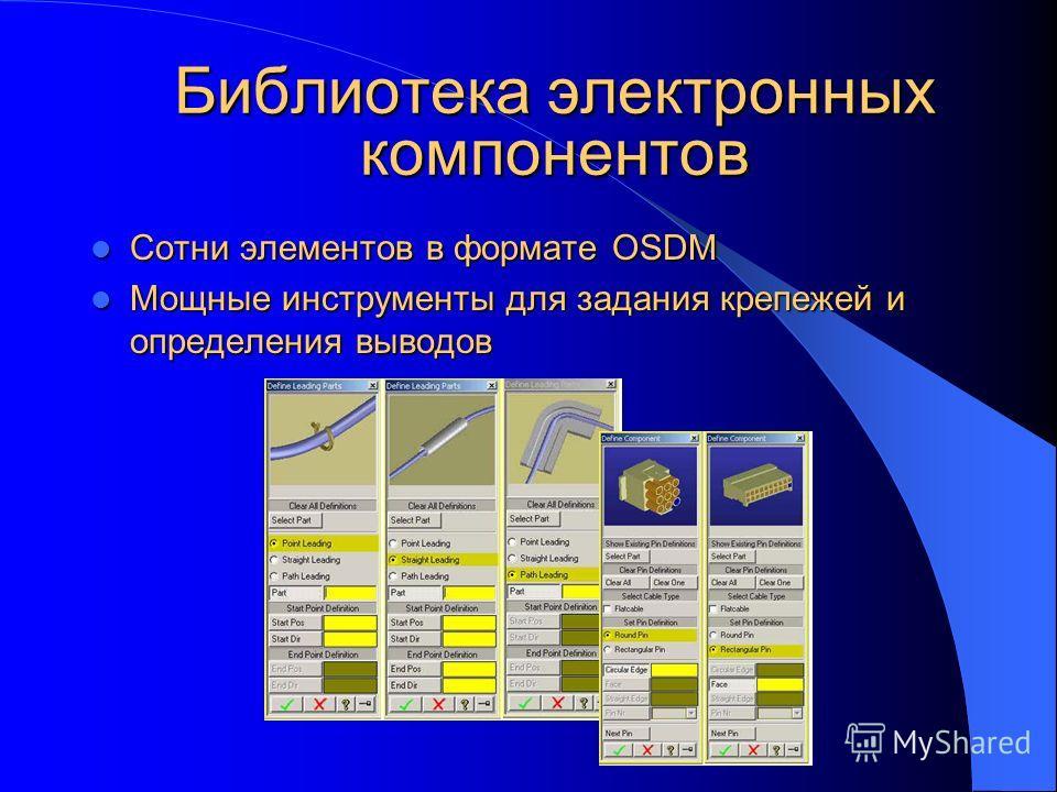 Библиотека электронных компонентов Сотни элементов в формате OSDM Сотни элементов в формате OSDM Мощные инструменты для задания крепежей и определения выводов Мощные инструменты для задания крепежей и определения выводов
