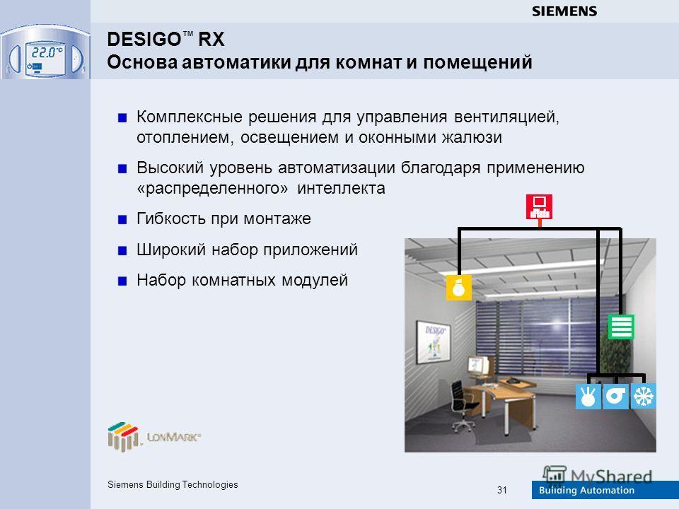 Siemens Building Technologies 31 Комплексные решения для управления вентиляцией, отоплением, освещением и оконными жалюзи Высокий уровень автоматизации благодаря применению «распределенного» интеллекта Гибкость при монтаже Широкий набор приложений На