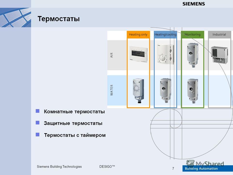 Siemens Building TechnologiesDESIGO 7 Термостаты Комнатные термостаты Защитные термостаты Термостаты с таймером