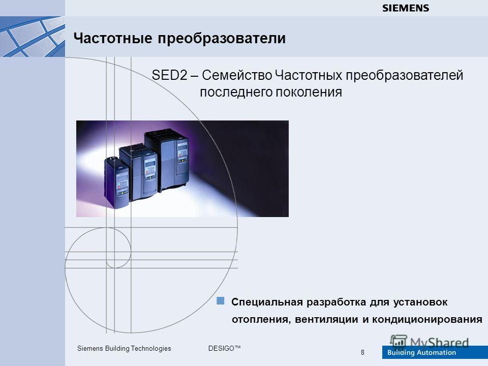 Siemens Building TechnologiesDESIGO 8 SED2 – Семейство Частотных преобразователей Частотные преобразователи Специальная разработка для установок последнего поколения отопления, вентиляции и кондиционирования