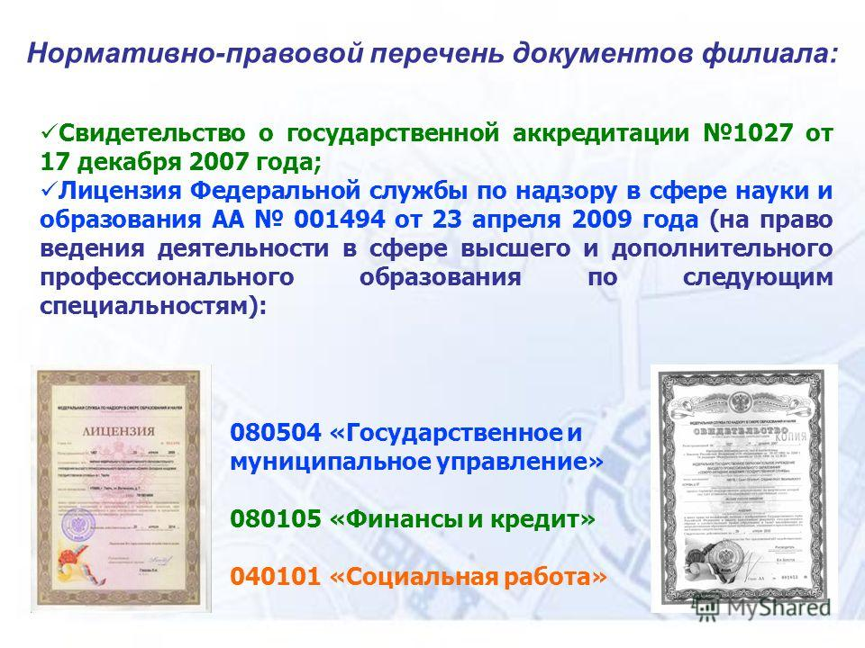 Нормативно-правовой перечень документов филиала: Свидетельство о государственной аккредитации 1027 от 17 декабря 2007 года; Лицензия Федеральной службы по надзору в сфере науки и образования АА 001494 от 23 апреля 2009 года (на право ведения деятельн
