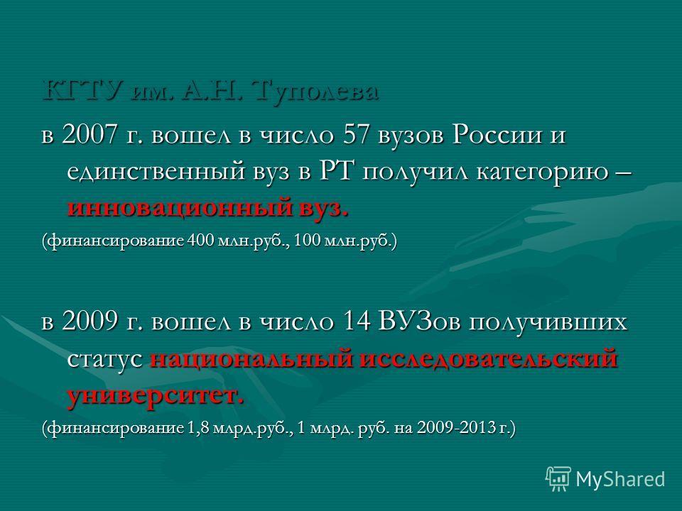 КГТУ им. А.Н. Туполева в 2007 г. вошел в число 57 вузов России и единственный вуз в РТ получил категорию – инновационный вуз. (финансирование 400 млн.руб., 100 млн.руб.) в 2009 г. вошел в число 14 ВУЗов получивших статус национальный исследовательски