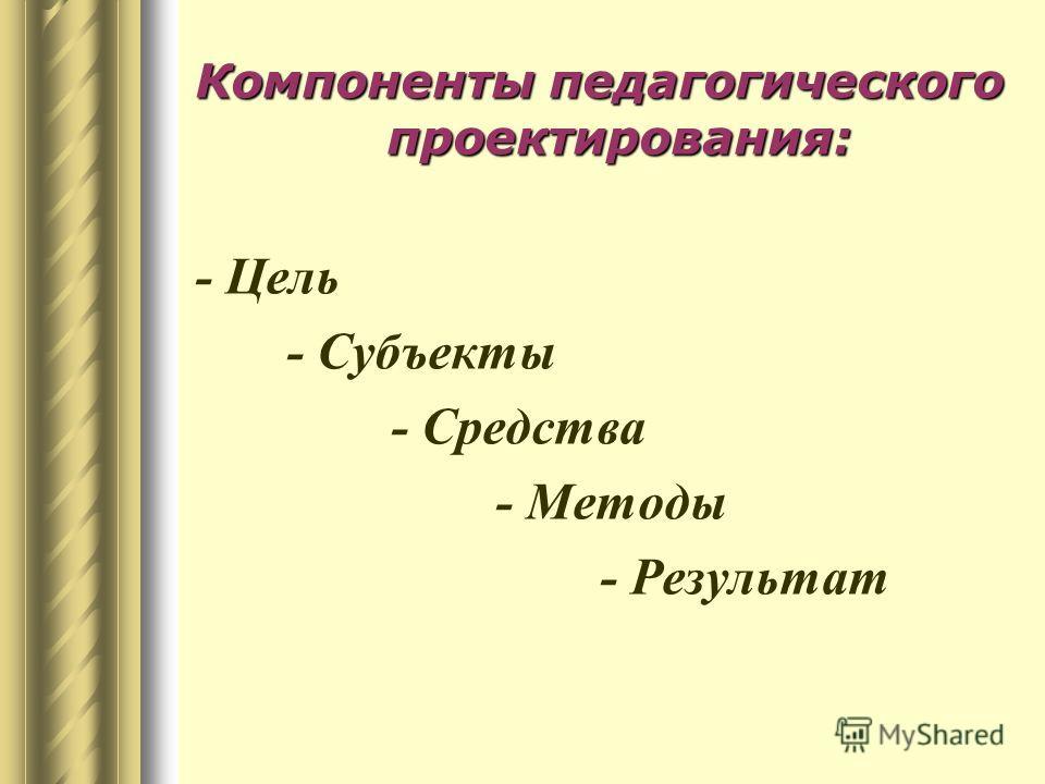 Компоненты педагогического проектирования: - Цель - Субъекты - Средства - Методы - Результат