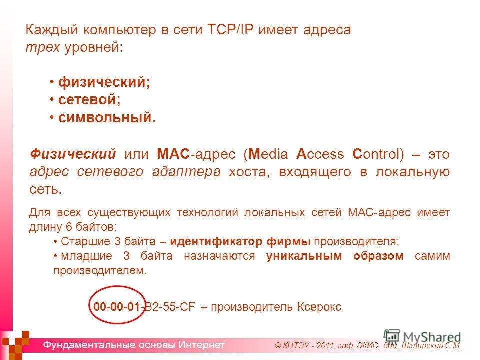 © КНТЭУ - 2011, каф. ЭКИС, доц. Шклярский С.М. Фундаментальные основы Интернет Каждый компьютер в сети TCP/IP имеет адреса трех уровней: физический; сетевой; символьный. Физический или MAC-адрес (Media Access Control) – это адрес сетевого адаптера хо