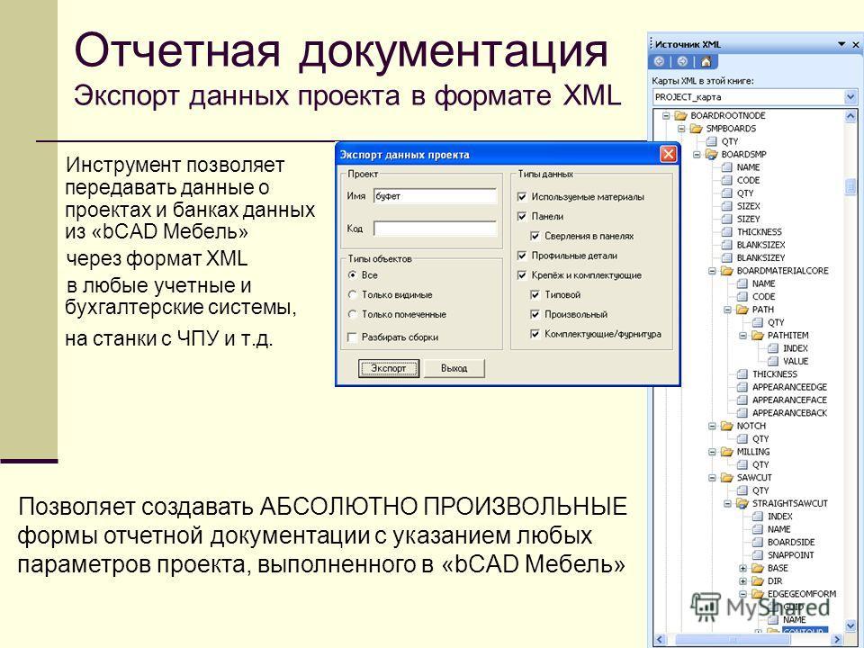 Отчетная документация Экспорт данных проекта в формате XML Инструмент позволяет передавать данные о проектах и банках данных из «bCAD Мебель» через формат XML в любые учетные и бухгалтерские системы, на станки с ЧПУ и т.д. Позволяет создавать АБСОЛЮТ