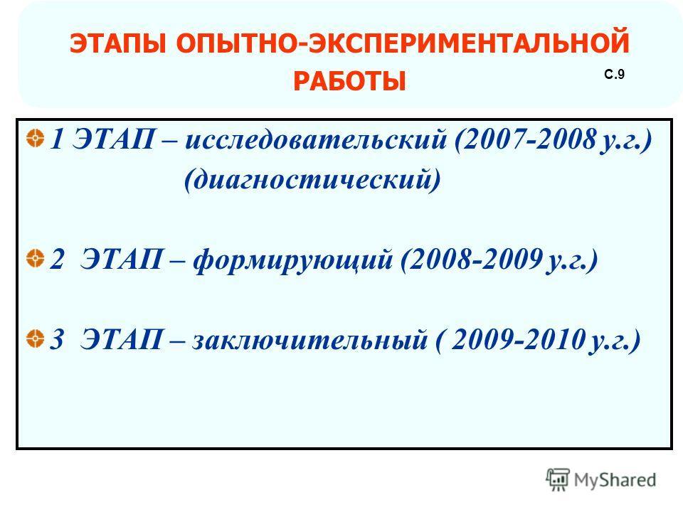 1 ЭТАП – исследовательский (2007-2008 у.г.) (диагностический) 2 ЭТАП – формирующий (2008-2009 у.г.) 3 ЭТАП – заключительный ( 2009-2010 у.г.) ЭТАПЫ ОПЫТНО-ЭКСПЕРИМЕНТАЛЬНОЙ РАБОТЫ С.9