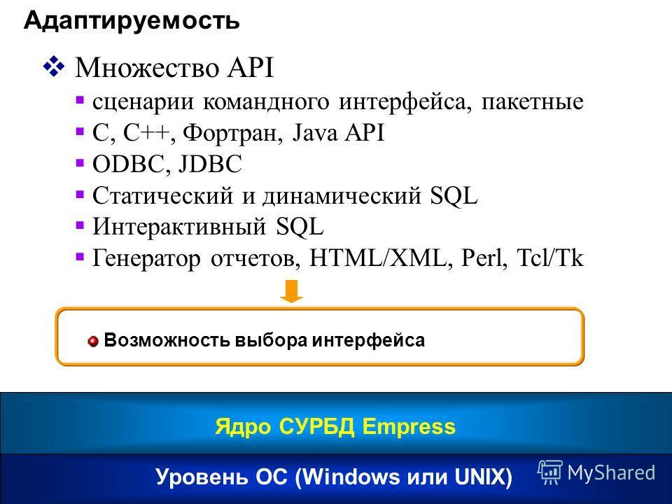 Адаптируемость Множество API сценарии командного интерфейса, пакетные C, C++, Фортран, Java API ODBC, JDBC Статический и динамический SQL Интерактивный SQL Генератор отчетов, HTML/XML, Perl, Tcl/Tk Возможность выбора интерфейса Уровень ОС (Windows ил