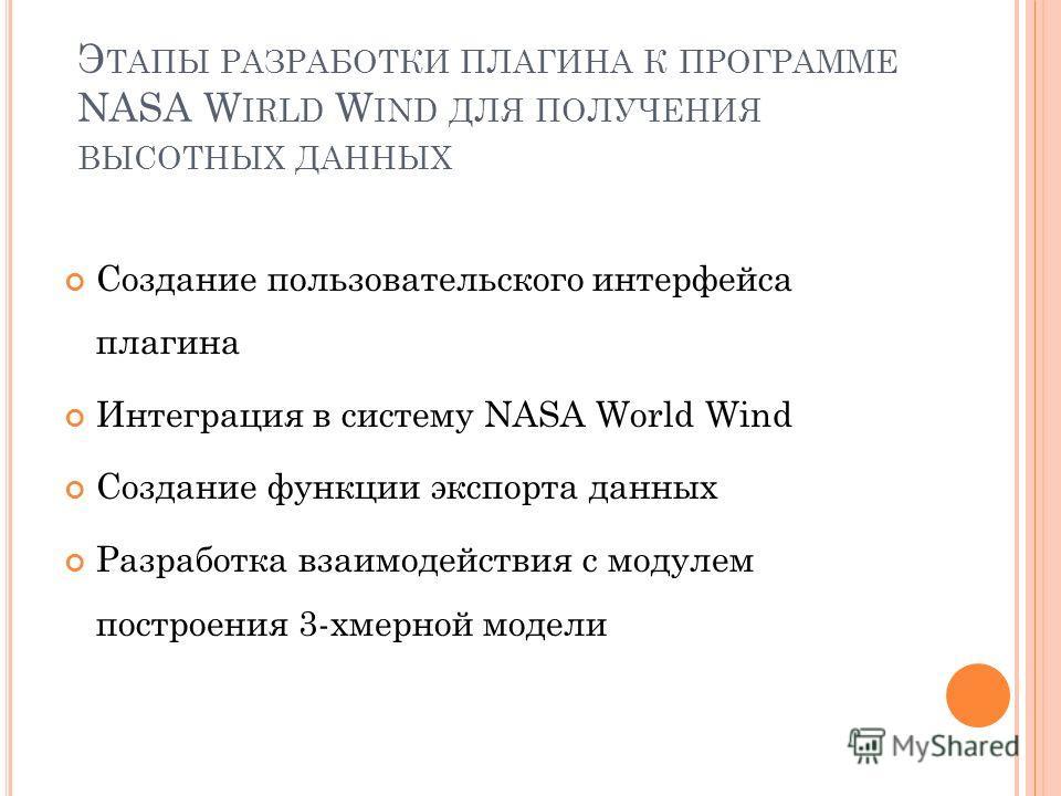 Э ТАПЫ РАЗРАБОТКИ ПЛАГИНА К ПРОГРАММЕ NASA W IRLD W IND ДЛЯ ПОЛУЧЕНИЯ ВЫСОТНЫХ ДАННЫХ Создание пользовательского интерфейса плагина Интеграция в систему NASA World Wind Создание функции экспорта данных Разработка взаимодействия с модулем построения 3