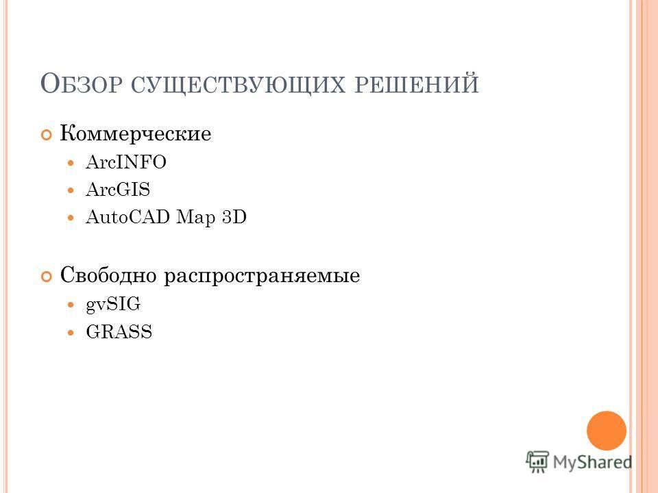 О БЗОР СУЩЕСТВУЮЩИХ РЕШЕНИЙ Коммерческие ArcINFO ArcGIS AutoCAD Map 3D Свободно распространяемые gvSIG GRASS
