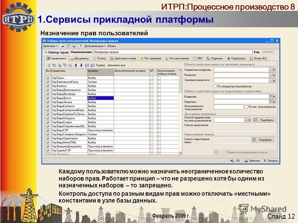 Слайд 12 Февраль 2009 г. ИТРП:Процессное производство 8 1.Сервисы прикладной платформы Назначение прав пользователей Каждому пользователю можно назначить неограниченное количество наборов прав. Работает принцип – что не разрешено хотя бы одним из наз