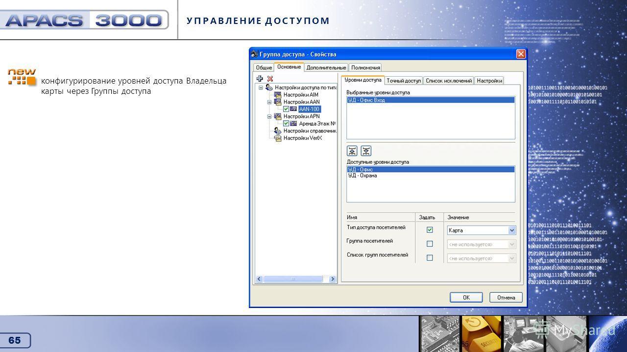 65 Управление доступом УПРАВЛЕНИЕ ДОСТУПОМ 65 конфигурирование уровней доступа Владельца карты через Группы доступа