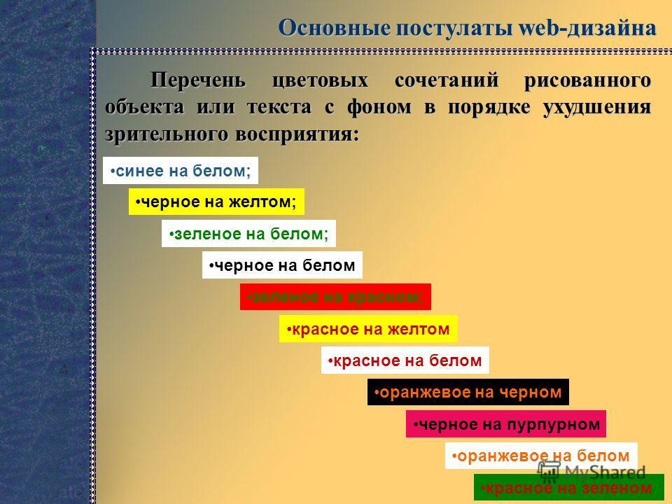 Основные постулаты web-дизайна Перечень цветовых сочетаний рисованного объекта или текста с фоном в порядке ухудшения зрительного восприятия: синее на белом; черное на желтом; зеленое на белом; красное на зеленом черное на белом зеленое на красном; к