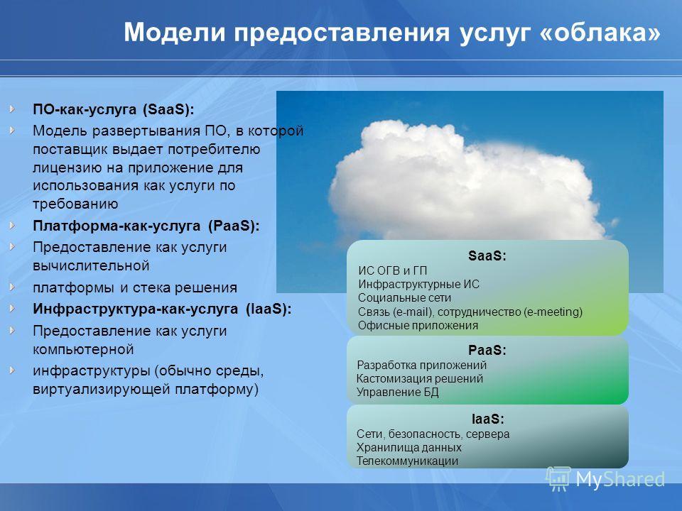 Модели предоставления услуг «облака» ПО-как-услуга (SaaS): Модель развертывания ПО, в которой поставщик выдает потребителю лицензию на приложение для использования как услуги по требованию Платформа-как-услуга (PaaS): Предоставление как услуги вычисл