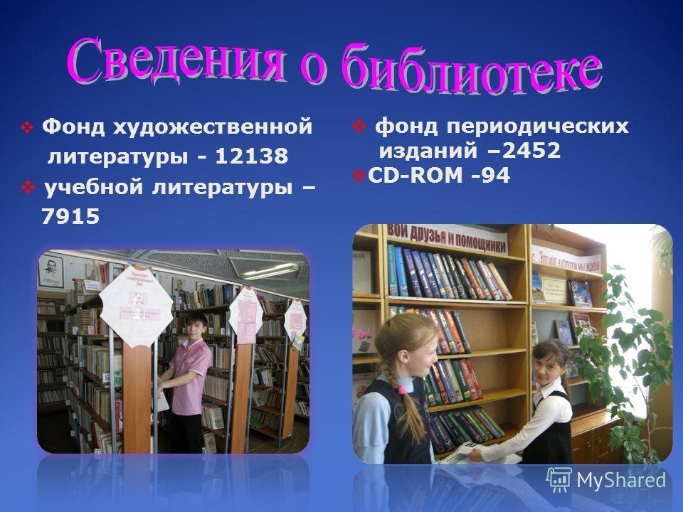 Фонд художественной литературы - 12138 учебной литературы – 7915 фонд периодических изданий –2452 CD-ROM -94
