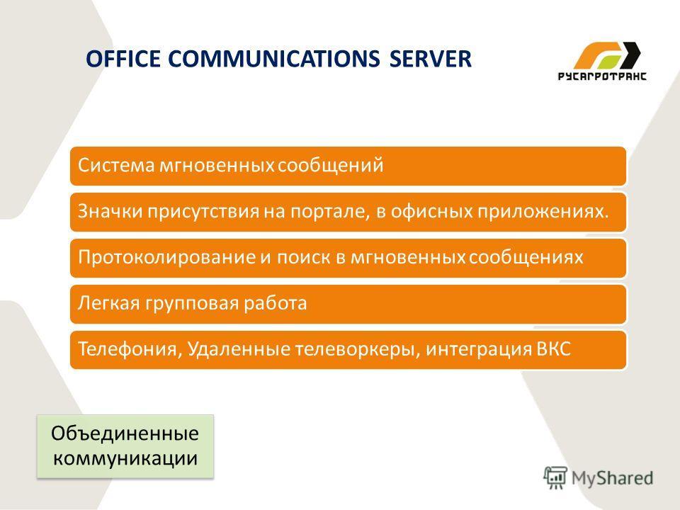 Система мгновенных сообщенийЗначки присутствия на портале, в офисных приложениях.Протоколирование и поиск в мгновенных сообщенияхЛегкая групповая работаТелефония, Удаленные телеворкеры, интеграция ВКС OFFICE COMMUNICATIONS SERVER Объединенные коммуни