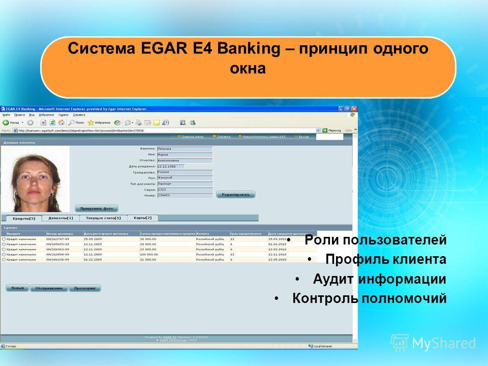 Роли пользователей Профиль клиента Аудит информации Контроль полномочий Система EGAR E4 Banking – принцип одного окна