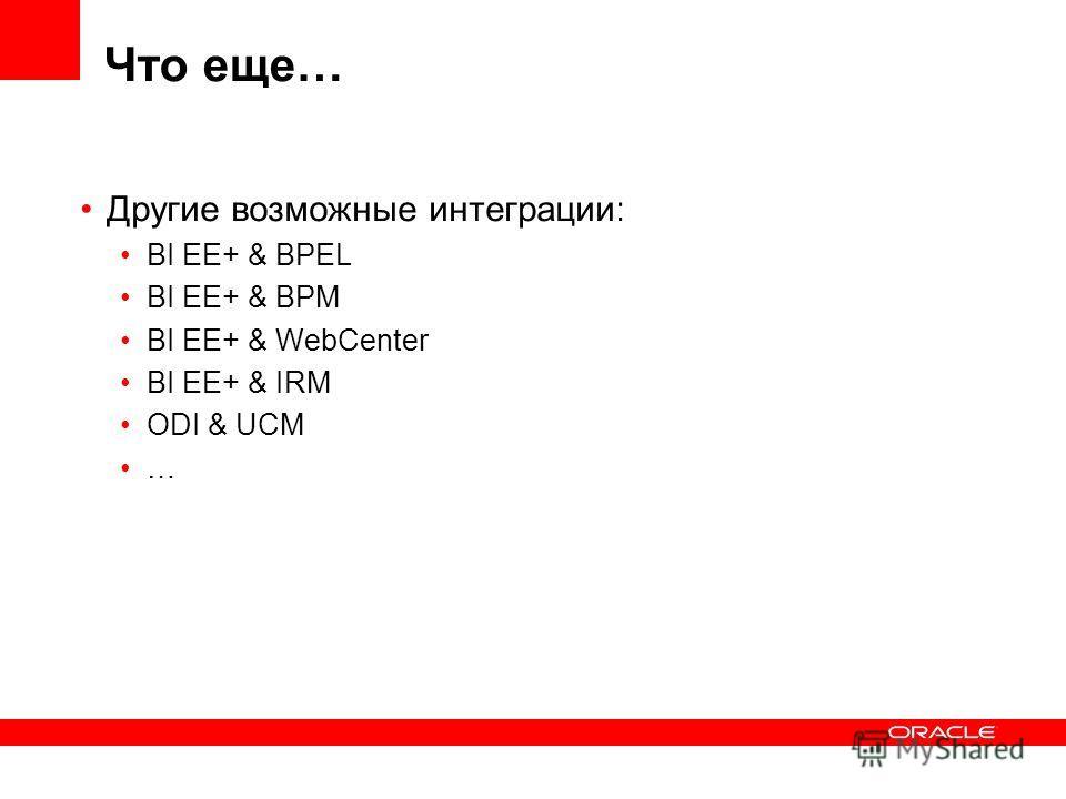 Что еще… Другие возможные интеграции: BI EE+ & BPEL BI EE+ & BPM BI EE+ & WebCenter BI EE+ & IRM ODI & UCM …