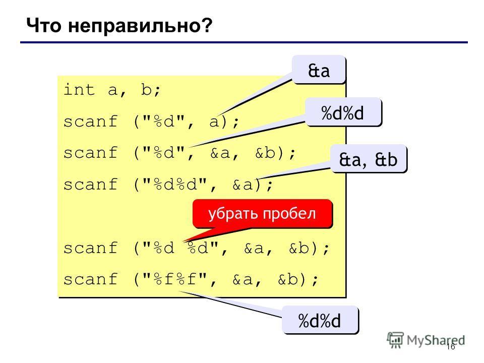 16 Что неправильно? int a, b; scanf (