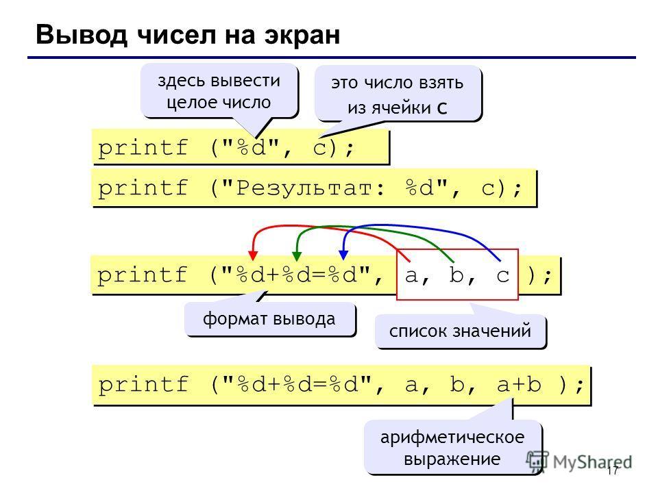 17 Вывод чисел на экран printf (