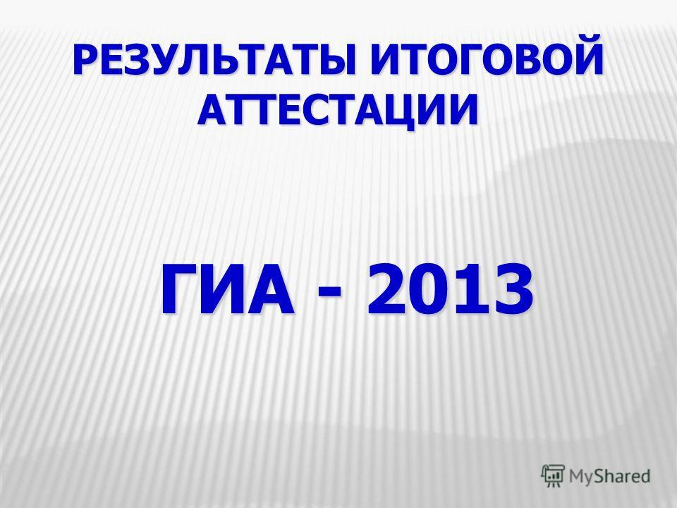 РЕЗУЛЬТАТЫ ИТОГОВОЙ АТТЕСТАЦИИ ГИА - 2013