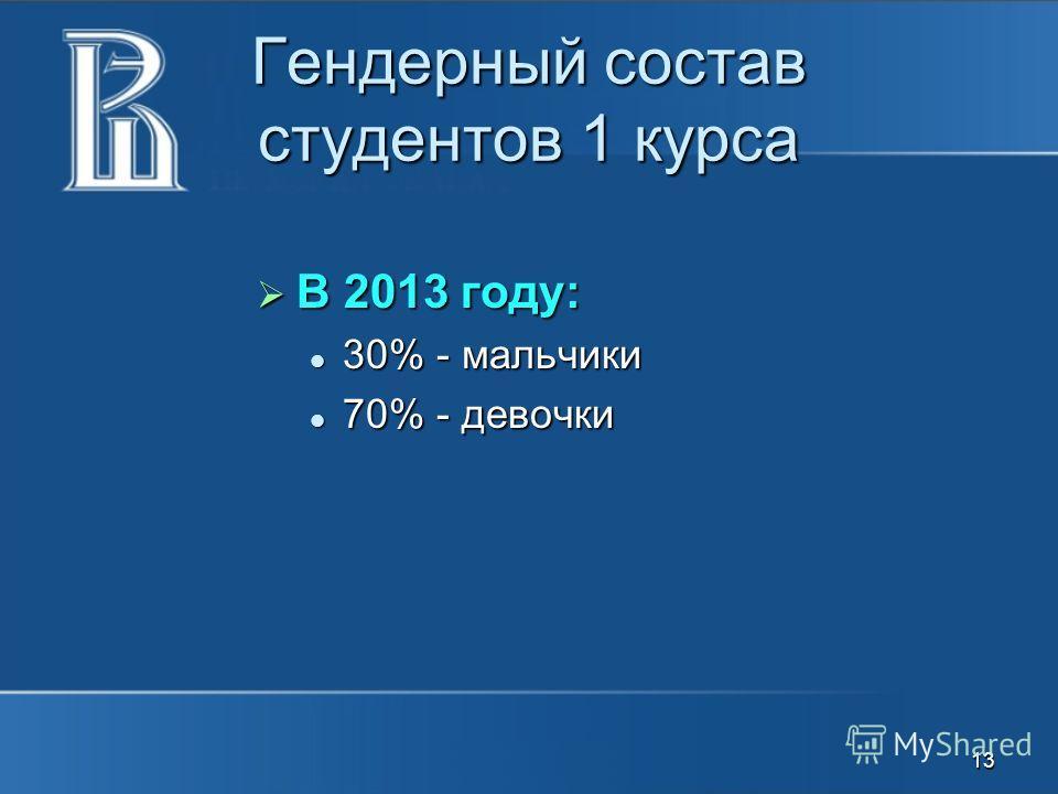 Гендерный состав студентов 1 курса В 2013 году: В 2013 году: 30% - мальчики 30% - мальчики 70% - девочки 70% - девочки 13