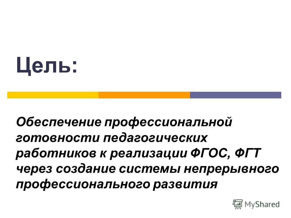 Цель: Обеспечение профессиональной готовности педагогических работников к реализации ФГОС, ФГТ через создание системы непрерывного профессионального развития